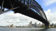 Stock Video Footage of Sydney Australia close up of famous Harbour Bridge and Sydney Opera House with