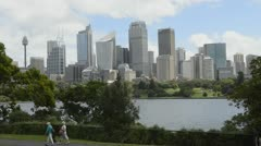 Sydney Australia skyline with locals walking in New South Wales - stock footage