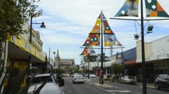 Bunbury Australia colorful sailboat flags in street in downtown Western Stock Footage