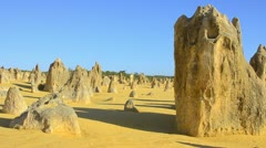 Nambung National Park The Pinnacles a famous rock formation in Western Australia Stock Footage