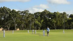 Melbourne Australia young boys aged 8 to 10 playing crickett in the park of Stock Footage