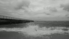 Dark Stormy Sky at Jetty Stock Footage