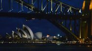 Sydney Australia night view of Sydney Harbour with Opera House and Harbour Stock Footage