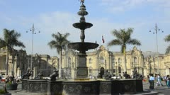 Lima peru fountain in front of the presidential palace of justice san martin  Stock Footage