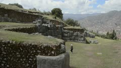 Cuzco cusco peru saqsayhuaman temple outside of the city with boulders Stock Footage
