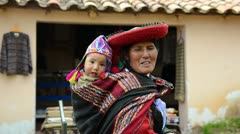 Cusco cuzco peru woman and child with traditional dress in south america Stock Footage