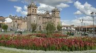 Stock Video Footage of cusco cuzco peru main square at cathedral church south america