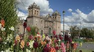 Stock Video Footage of cusco cuzco peru main square at cathedral church with flowers south america