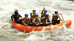 Whitewater rafting on the rapids of the river Patate, Ecuador slow motion, LR Stock Footage