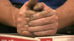 Potter working with clay on wheel - stock footage
