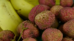 Delicious lychee & banana. Stock Footage