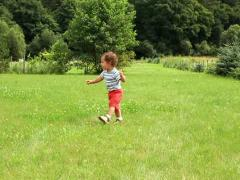 Young baby boy walking on the grass, slow motion Stock Footage