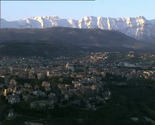 LAQUILA cityscape with mountains and parks closer Stock Footage