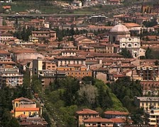 LAQUILA cityscape with st bernardine Stock Footage