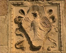 LAQUILA coat of arms high-relief swish pan Stock Footage