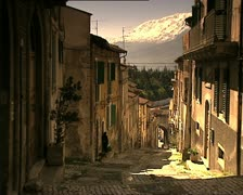 LAQUILA costa masciarelli street from top closer Stock Footage