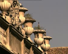 LAQUILA terrace with vases Stock Footage