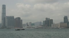 View to Kowloon Peninsula, Victoria Harbour, Hong Kong, China Stock Footage