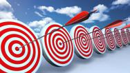 Targets and arrows red sky Stock Footage