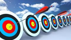 Targets and arrows color sky Stock Footage