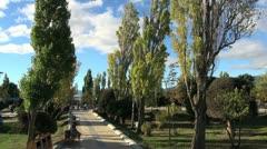 Patagonia Puerto Natales plaza & trees s Stock Footage