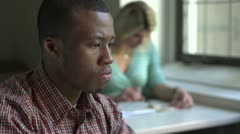 African American man studying, close up - stock footage