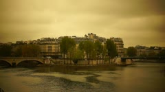 Famous bridge on the Seine, Ile de la cite Stock Footage