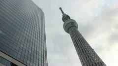 Tokyo Skytree and adjacent building - stock footage