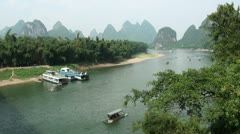 Overview of the Li river and karst scenery Stock Footage