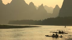 Beautiful sunset over the Li River nearby Guilin in China Stock Footage