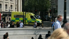 Ambulance in Trafalgar Square - stock footage