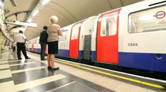 People getting on the tube London Stock Footage