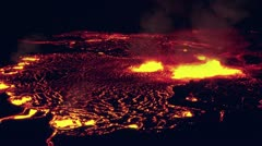 Lava and steam erupts into a slow moving pool of magma. Stock Footage