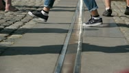 Greenwich time line feet only Stock Footage
