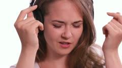 Headphone Girl Raps Stock Footage