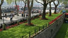 Docks at Tower Bridge - stock footage