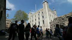 Group of people at the Tower of London Stock Footage