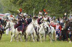 borodino battle. cavalry atack - stock photo