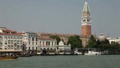 Venice, Italy, panning view of  water traffic on the Canale di San Marco - stock footage