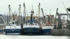 Fishing Trawlers Plymouth Harbour Stock Footage