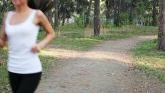 running in park - stock footage