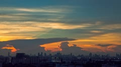 Sunset close up over Bangkok City with sun rays - stock footage