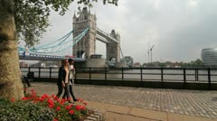 The Tower Bridge from the Thames Riverbank 2 - stock footage