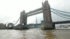 Tower Bridge from the Thames North Side - stock footage