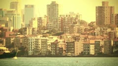 North Sydney view 70s old film stylized Stock Footage