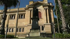 Sir Richard Bourke Monument and State Library of New South Wales  Stock Footage