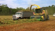 Forage Harvester and Truck Stock Footage