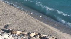 Sea washing pebbles Stock Footage