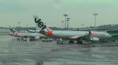 Singapore Changi Airport 01 jetstar Stock Footage