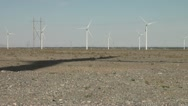 Stock Video Footage of Shadow of wind turbine in deserts of Gansu, China